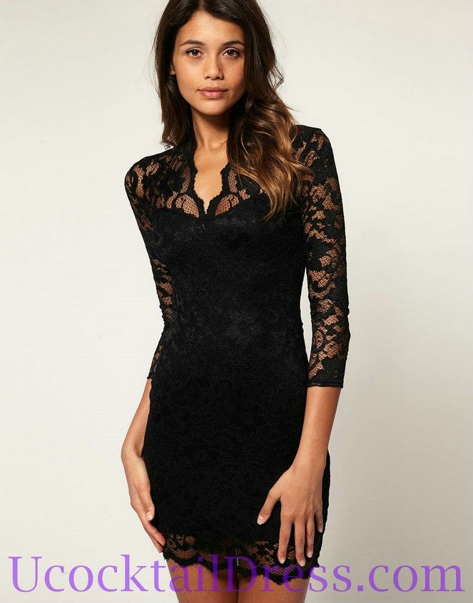 Black Lace Cocktail Dress with Sleeves
