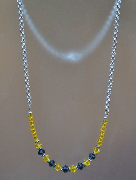 Yellow and Blue Crystal Necklace in Silver by JewelryArtByGail