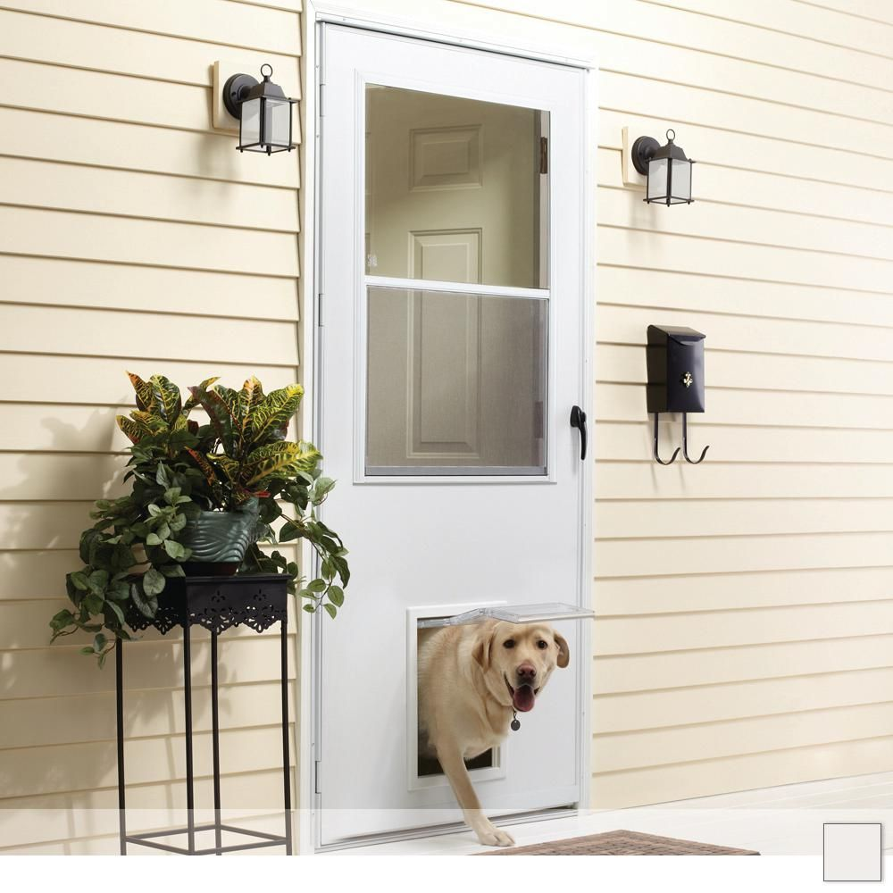 Emco K900 Series Self Storing Storm Door With Pet Entry System Storm Door Best Storm Doors Dog Door
