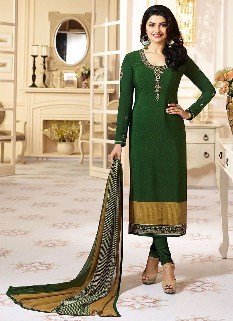 97500d9bbd Dark Green Embroidered Crepe Straight Cut Suit features a beautiful crepe  suit alongside a santoon bottom and a chiffon dupatta. Embroidery work is  ...