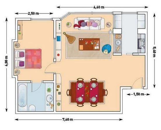 Planos con medidas para departamento de 50 metros for Planos de casas con medidas