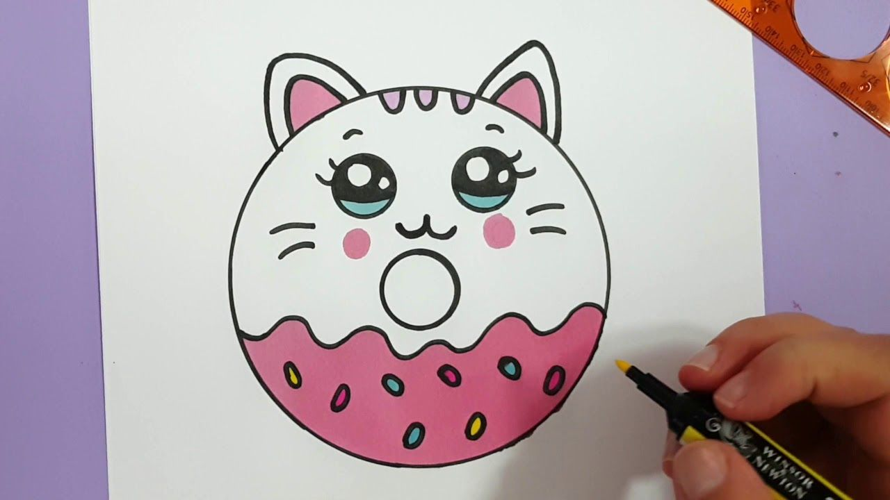 How To Draw A Cute Kitten Donut Super Easy Youtube Kitty Drawing Cute Easy Drawings Kitten Drawing