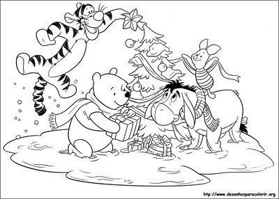 Winnie The Pooh And Friends Coloring Pages Christmas Google