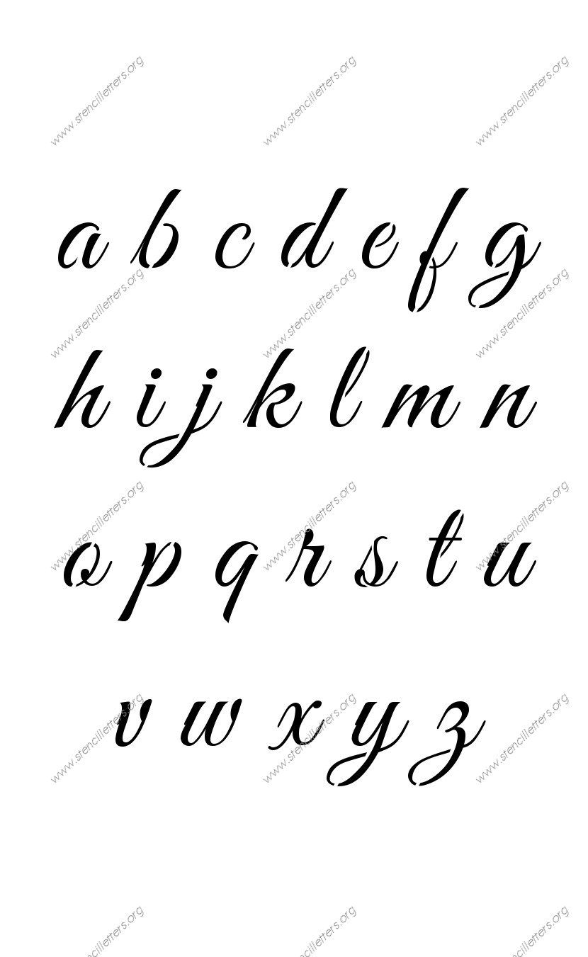 elegant calligraphy a to z lowercase letter stencils stenciles lettering calligraphy. Black Bedroom Furniture Sets. Home Design Ideas