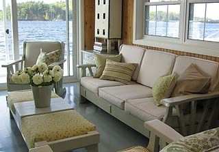 Sarah Richardson Remodels A Boathouse In Cottage Decor. I Love The Furniture,  Which She Found At Goodwill. She Had The Wood Painted And Recovered The ...