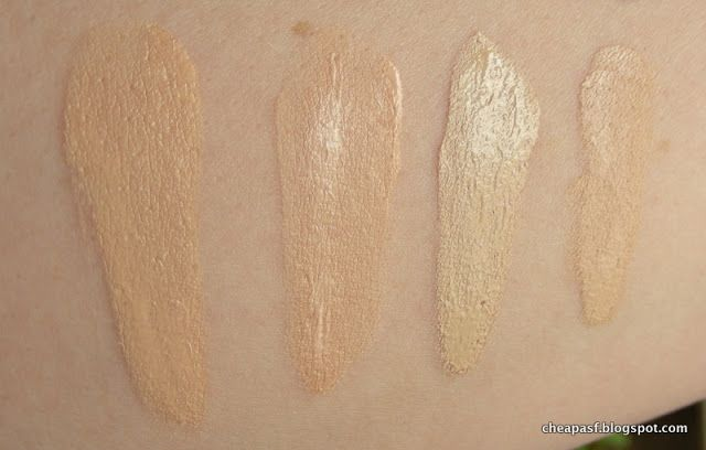 Swatches of: (1) L'Oreal True Match Lumi Healthy Luminous Makeup in