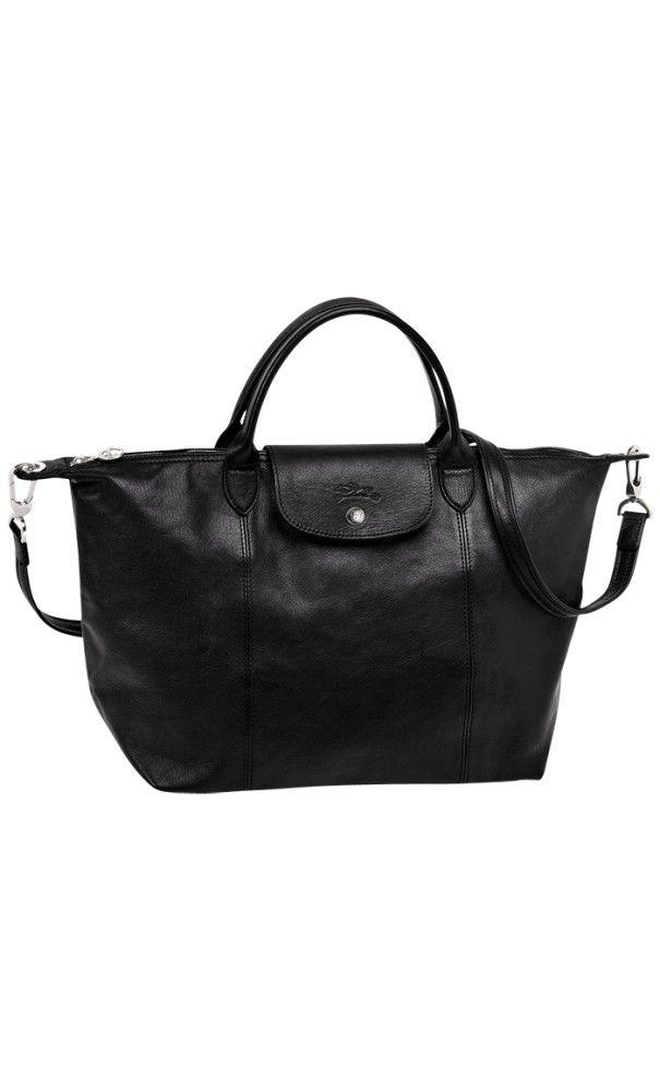 Longchamp Le Pliage Cuir Medium  Handbag Black  bags  2c32e71ae9624