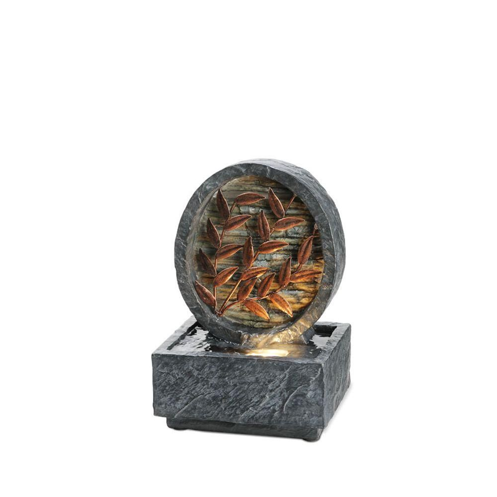 ORE International 9.5 in. Antique Copper Leaf Grey Table Lamp