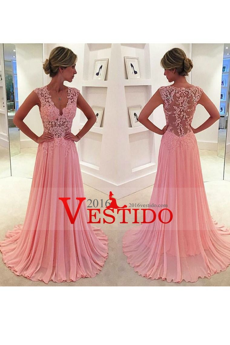 2016 A Line V Neck Prom Dresses Chiffon With Applique | Trazos ...