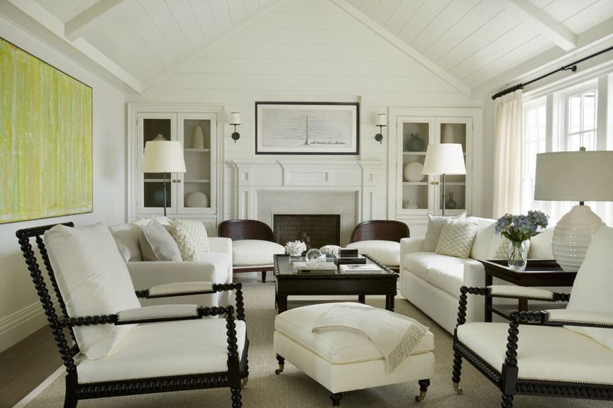 Delightful Suzie: Matthew Sapera   Classic Living Room With Beadboard Sloped Ceiling,  Built Ins Flanking .