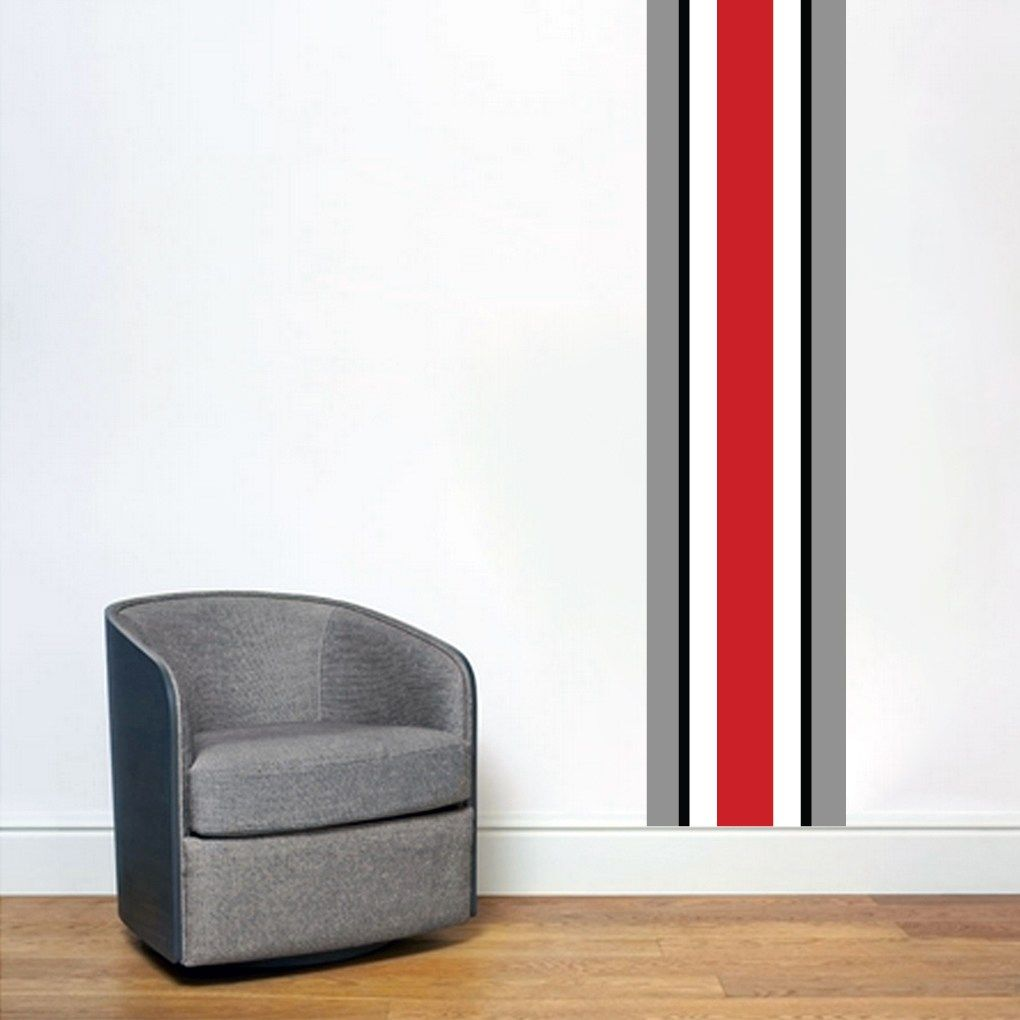 Ohio Red Black Gray Stripe Wall Decal (Medium) (As Is Item) (MEDIUM), Sweetums #graystripedwalls