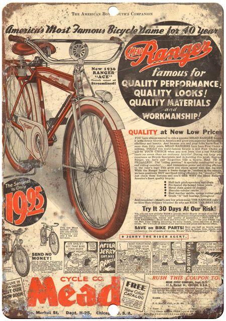 Mead Bicycles Vintage Bicycle Ad Vintage Metal Sign Retro Metal Sign Reproduction Metal Sign Bicycle Vintage Bicycles Bike Poster
