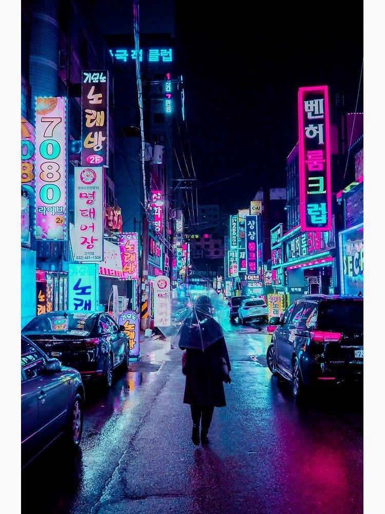 Impression sur toile Incheon Rain 2 par Steve Roe