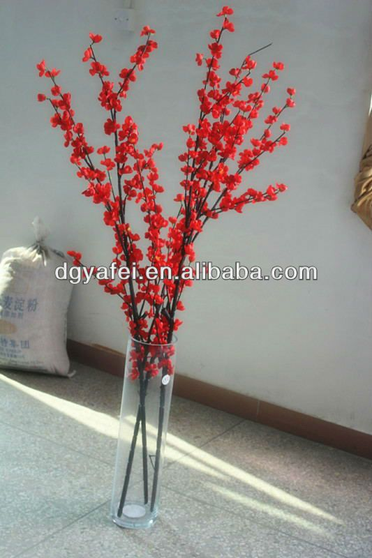 High Imitation Artificial Red Peach Flower Tree Branch For Wedding Festival Decoration Cherry Chinese New Year Decorations Quilled Tree Flowering Trees