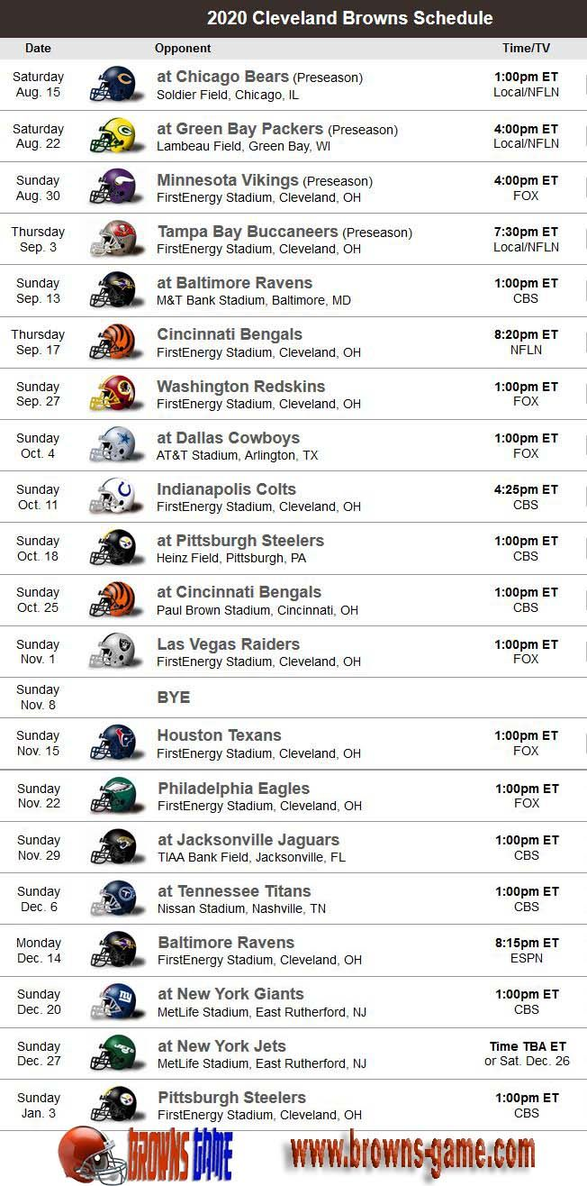Pin by NFL Football on NFL Schedule in 2020 Cleveland