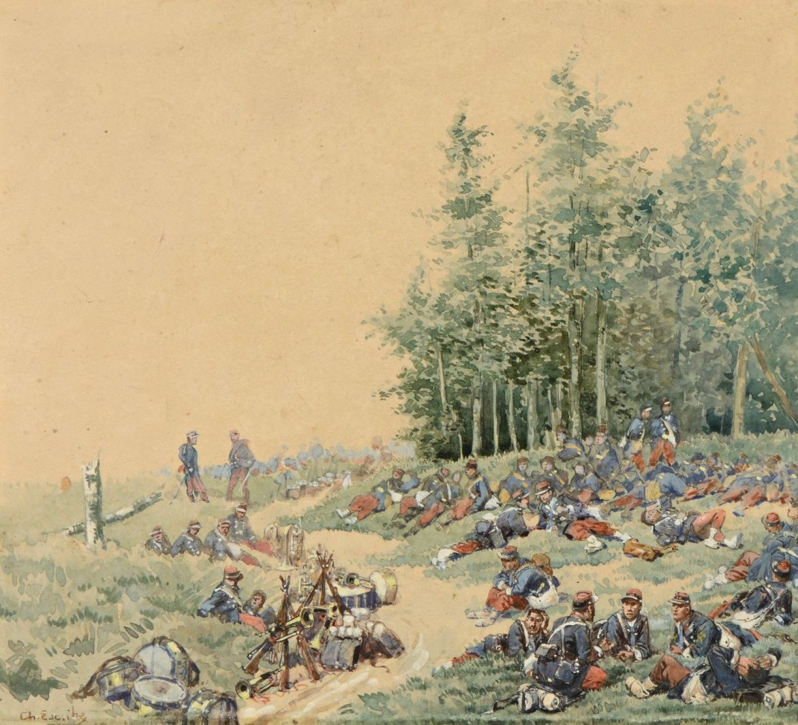Charles ESCRIBE La pause, scène de la guerre de 1870-1871 Aquarelle