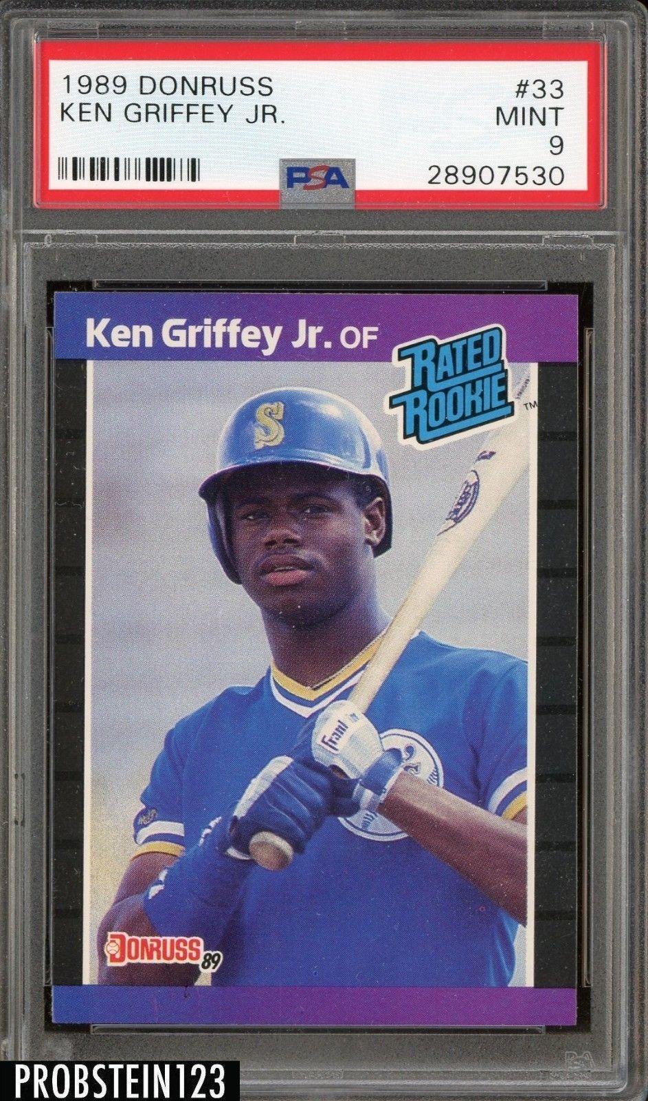 1989 donruss 33 ken griffey jr mariners rc rookie hof