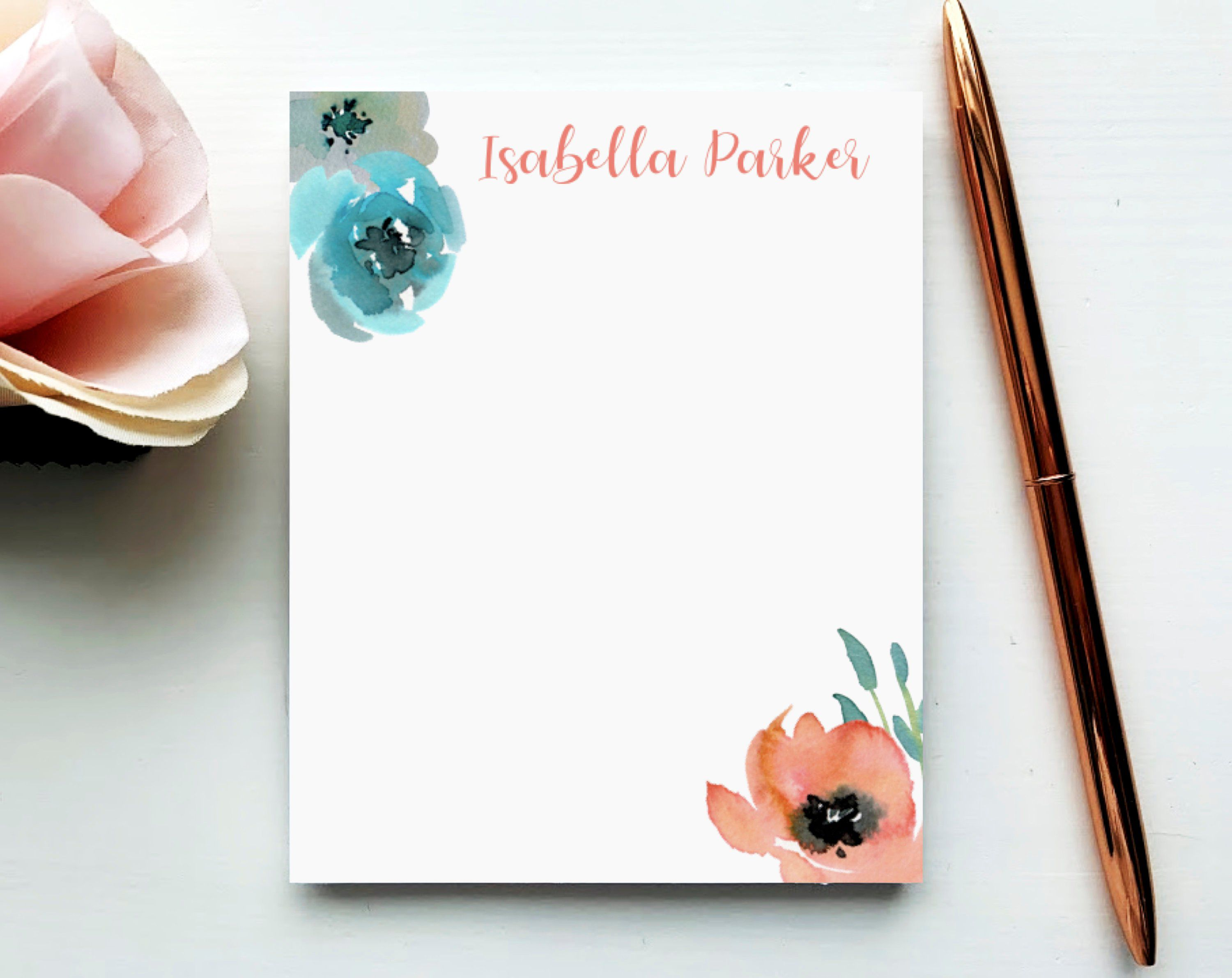 PAINTED FLORALS II NOTEPAD Personalized Flower Stationery//Stationary 5x7 or 8x10 Note Pad