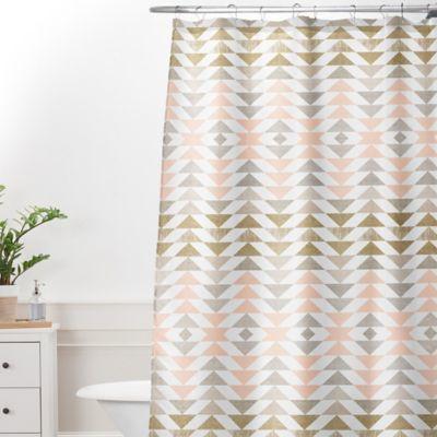 Deny Designs 69 Inch X 90 Georgiana Paraschiv Metallic Triangles Shower Curtain In Gold