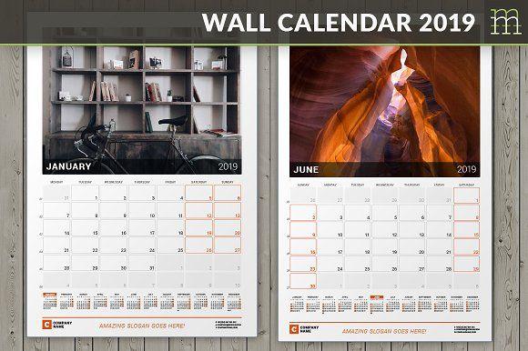 Wall Calendar 2019 (WC030-19) by mikhailmorosin on @creativemarket