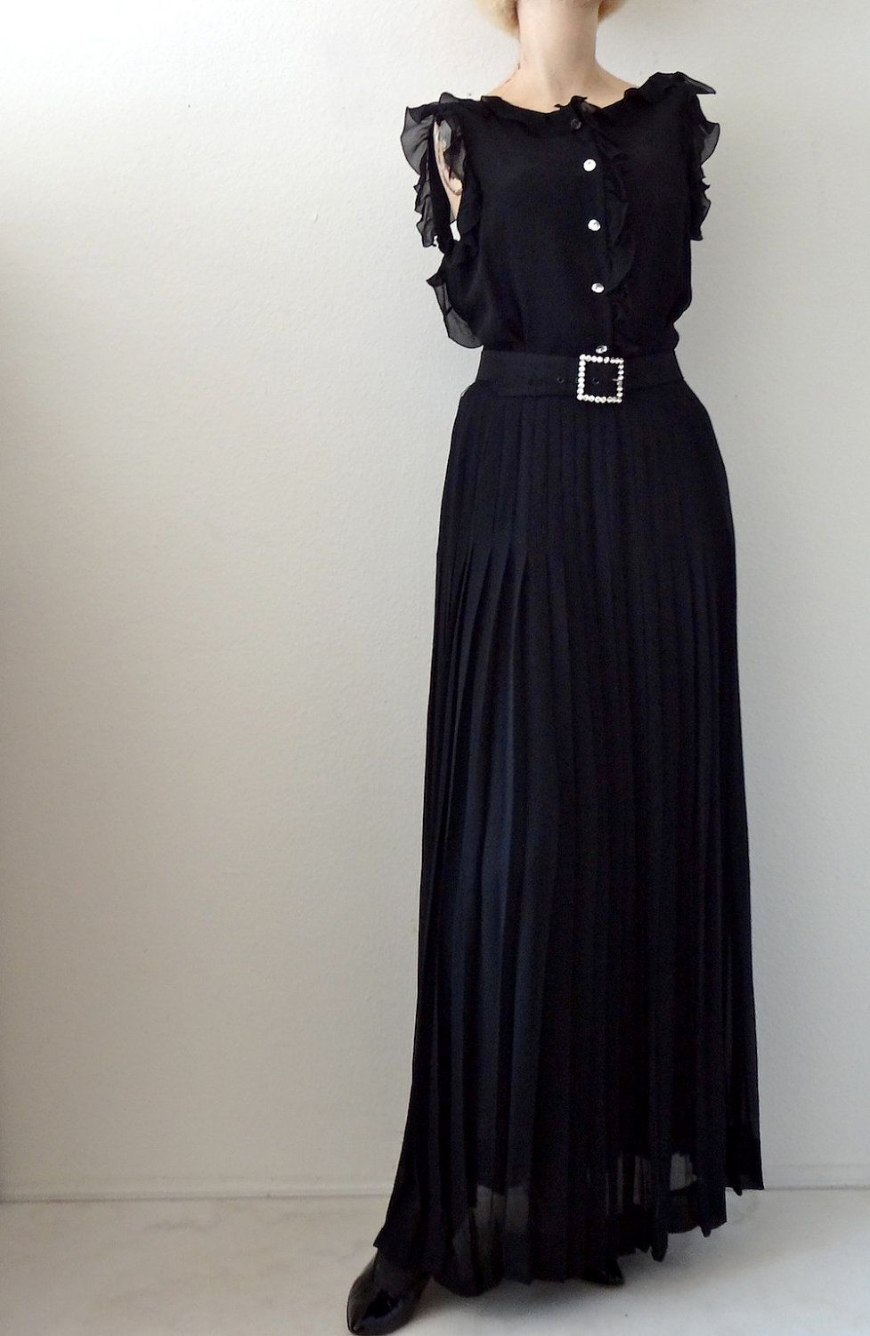 Vintage valentino silk chiffon party dress couture evening gown by