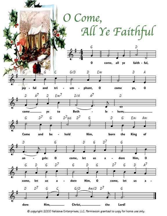 photo relating to Free Printable Vintage Christmas Sheet Music identified as Totally free Xmas printable with the Xmas carol O Arrive All Ye