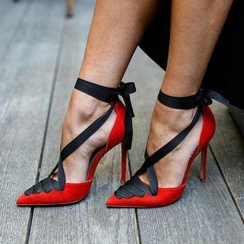 Lace Up ROT Damens's Stiletto Heels PU material   ... Fab schuhe ...  32632d