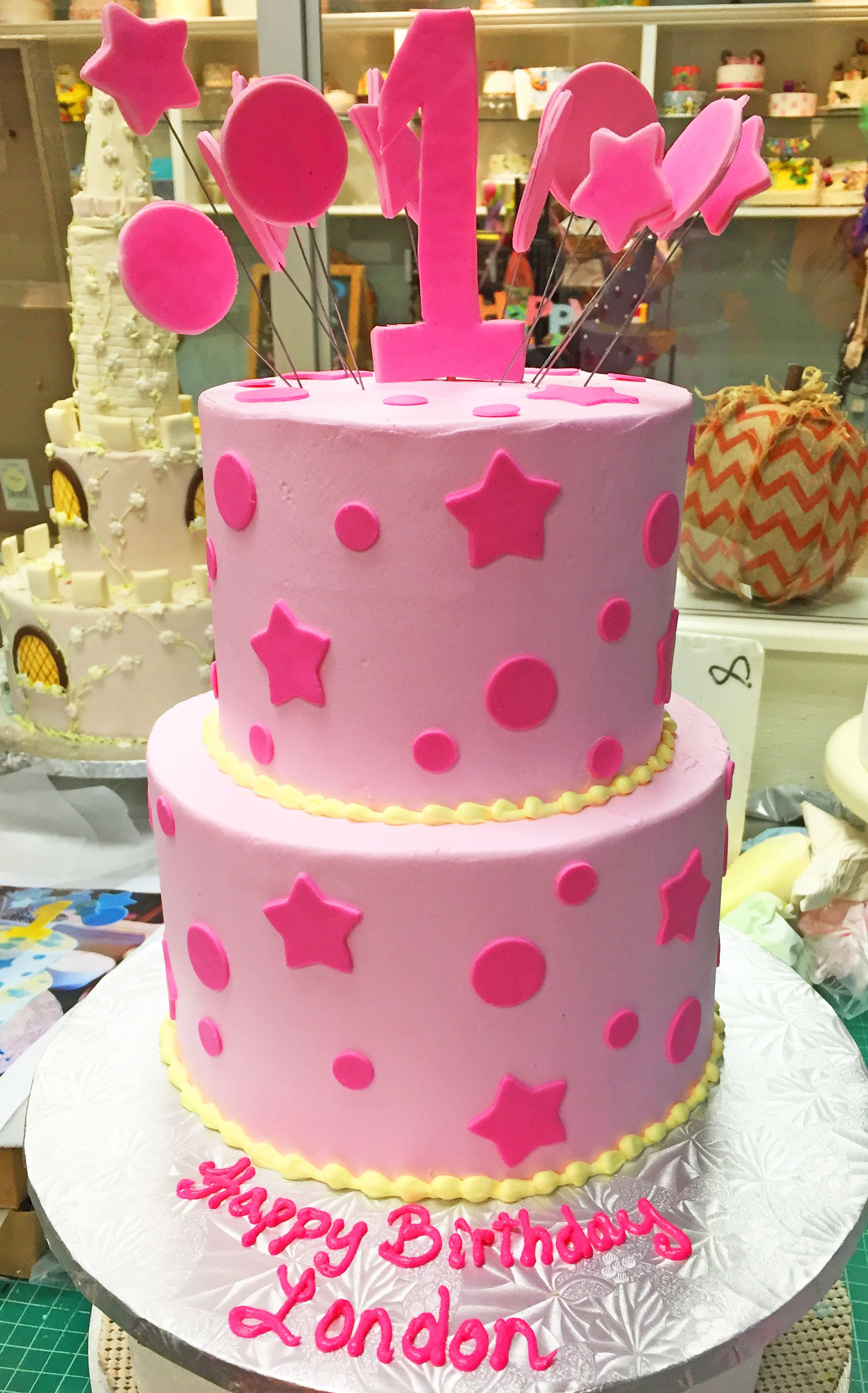 Superb A 1St Birthday Cake With Stars And Polka Dots Cake 149 With Funny Birthday Cards Online Fluifree Goldxyz