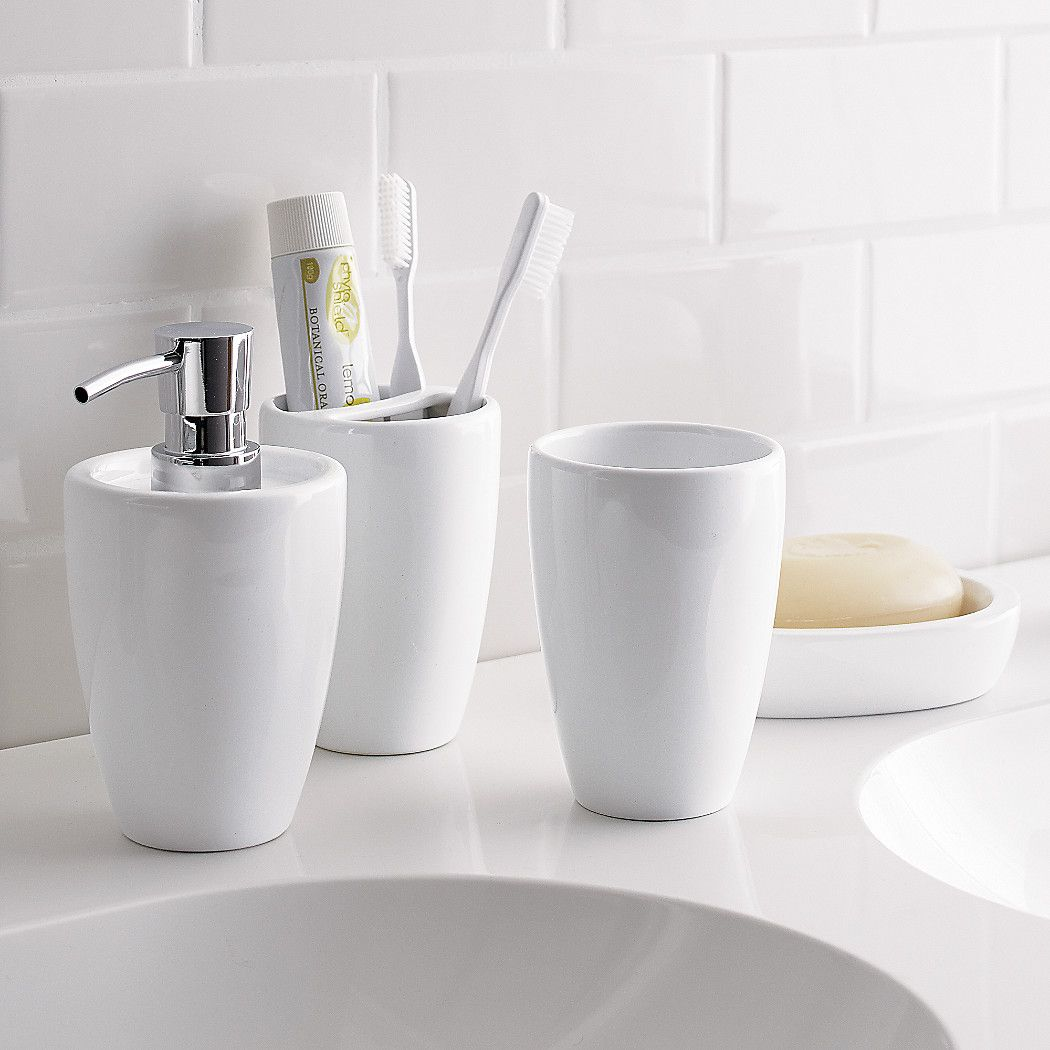 Shop Pure White Toothbrush Holder. Basic, functional and pure white ...