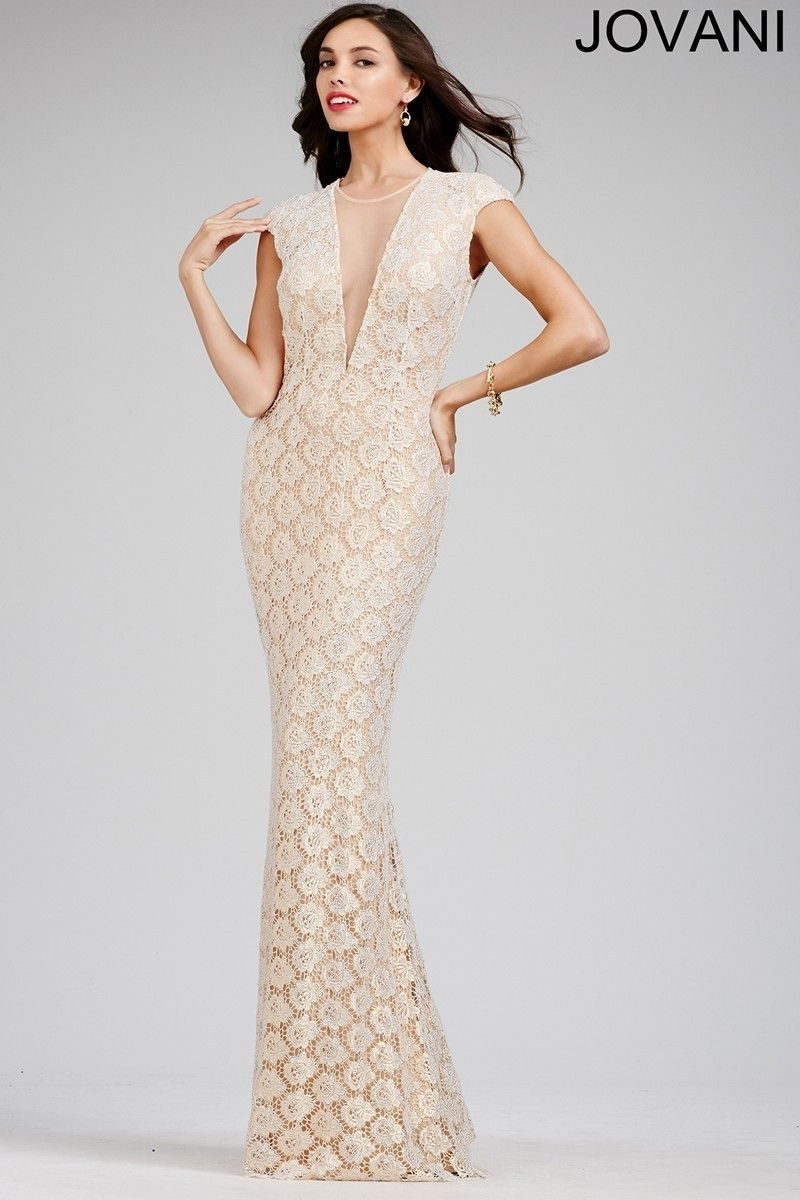 Jovani 26442 BOHO Chic Lace V-Neck Prom Dress Evening Gown In Stock ...