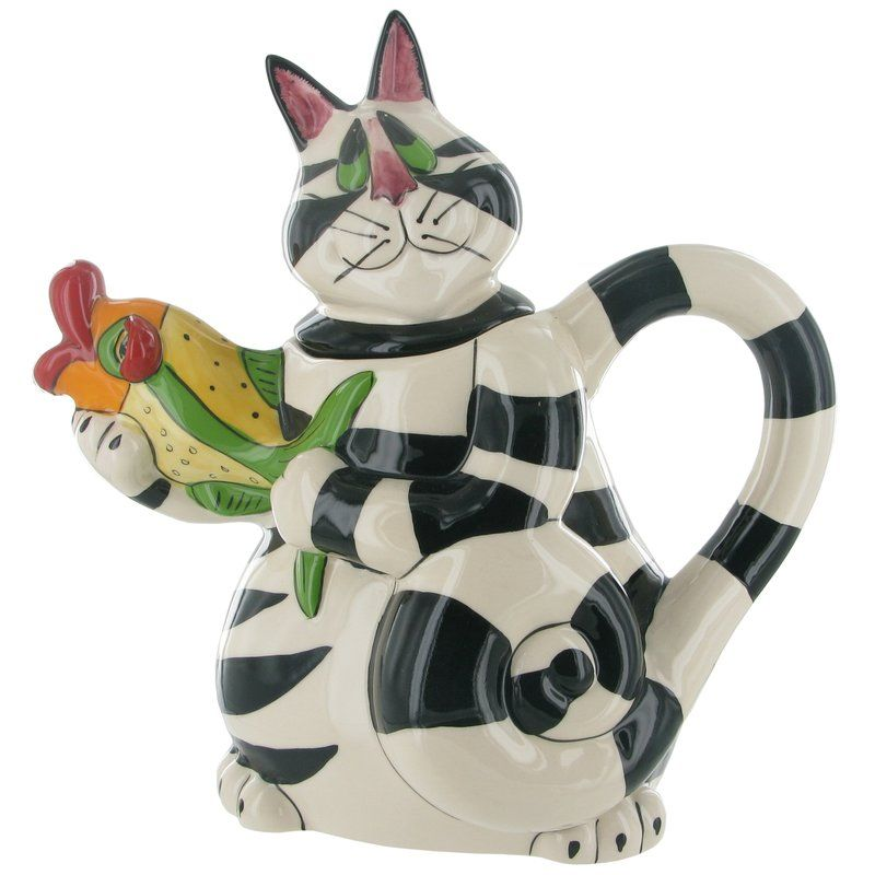 Castleton home ceramic grace cat holding fish collectable