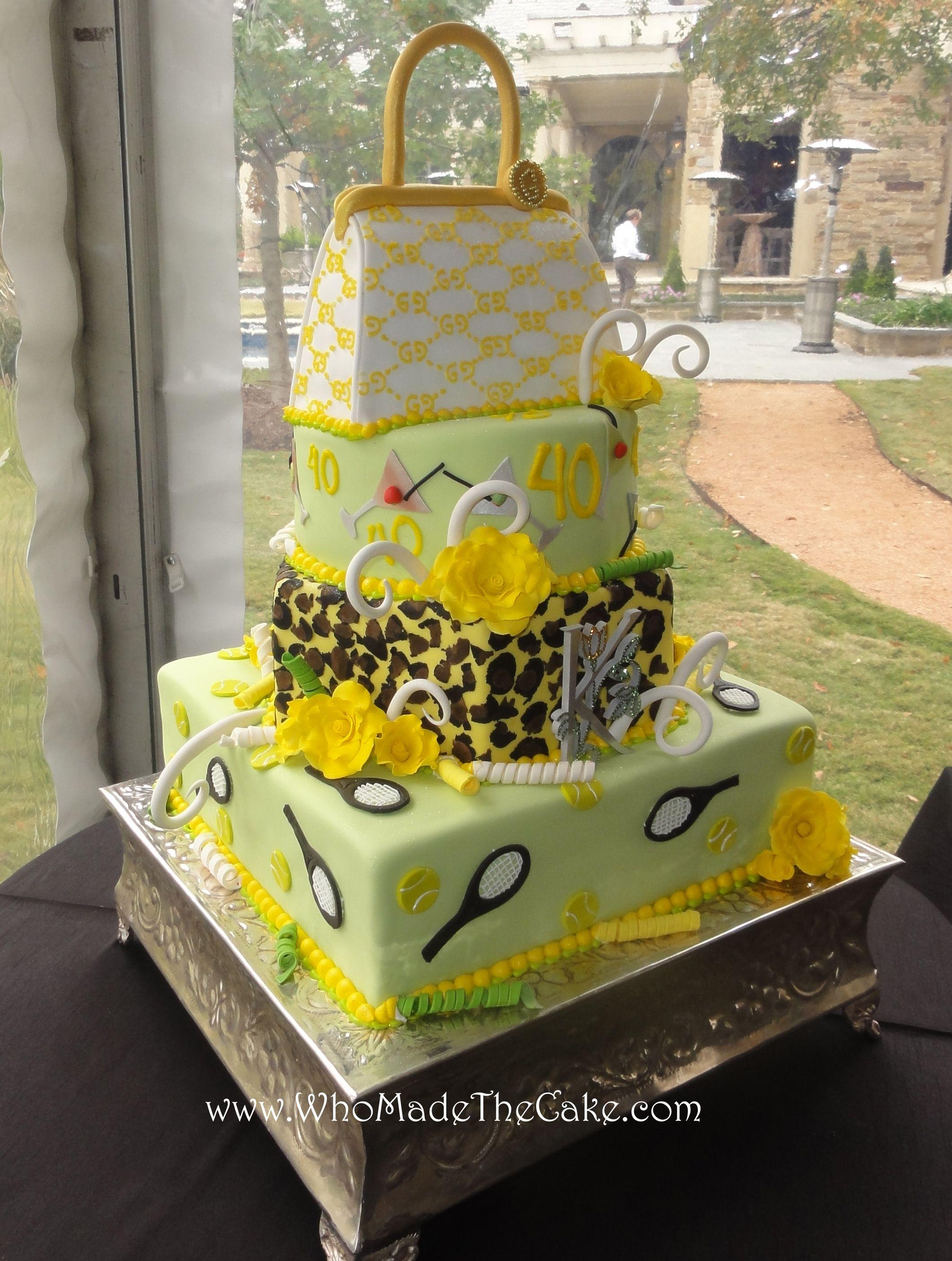 Tennis themed 40th birthday cake. #tenniscake #guccicake ...