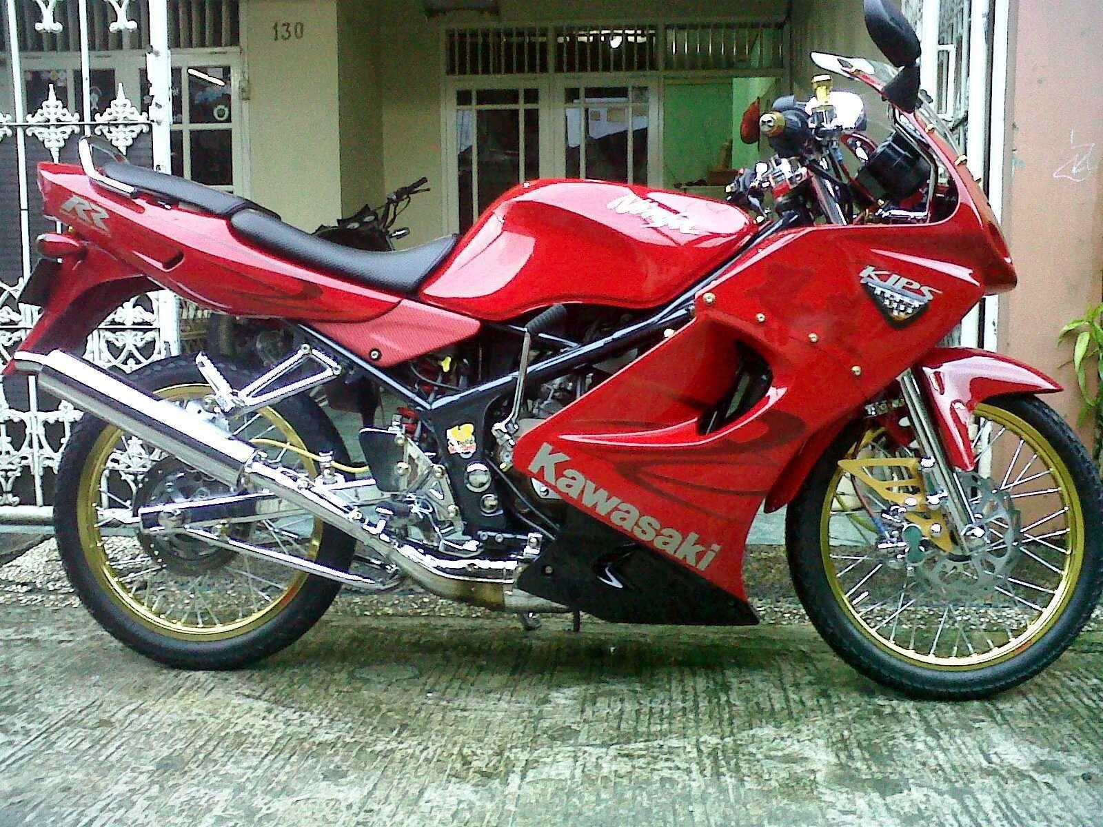 Modifikasi Motor Kawasaki Ninja Rr Merah Velg Jari Jari Modifikasi