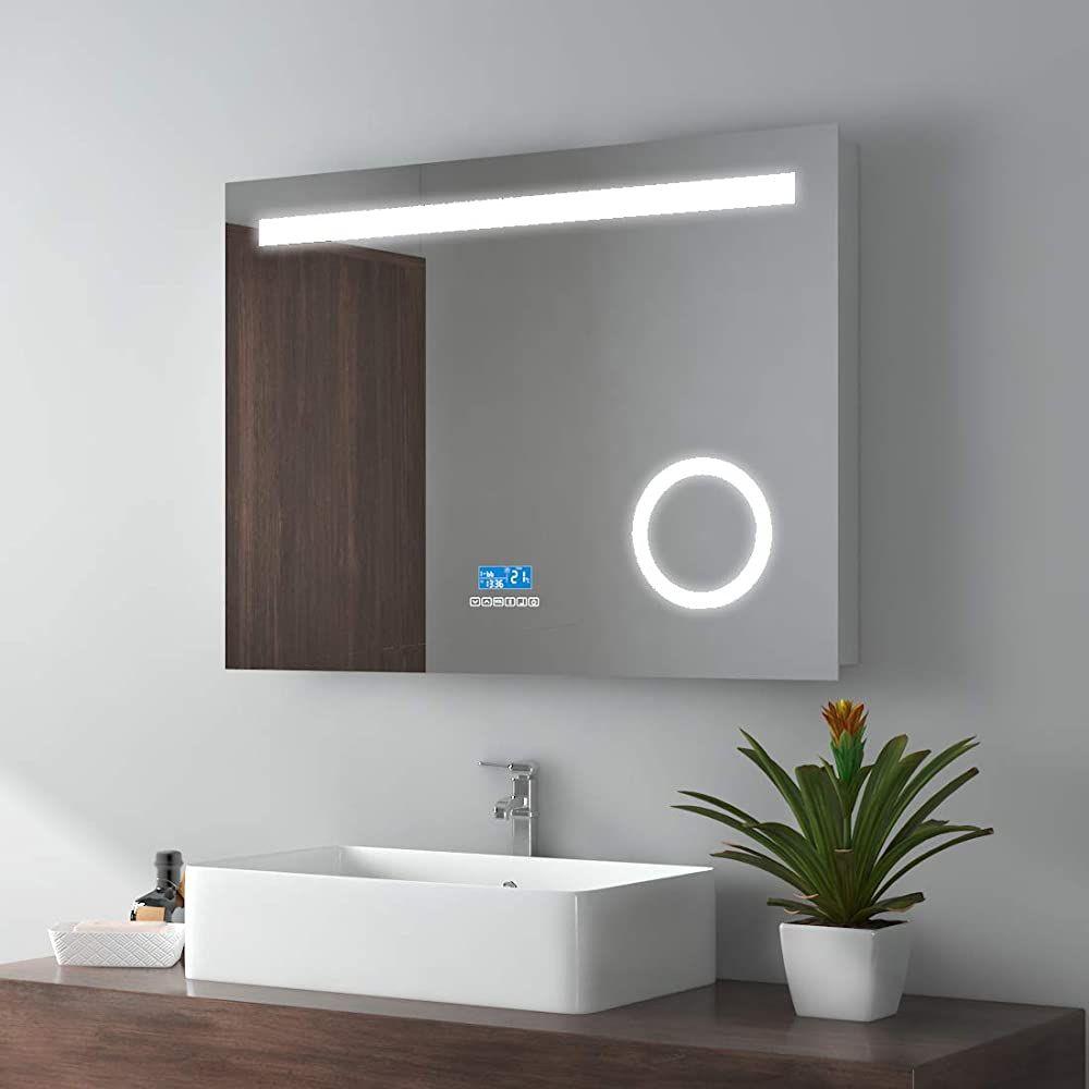 Emke Led Badspiegel 80x60cm Badspiegel Mit Beleuchtung Kaltweiss