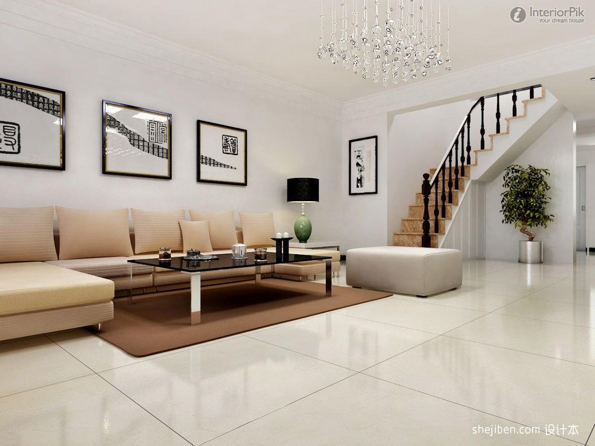 Simple europeanstyle sofa penthouse floor wall decoration effect