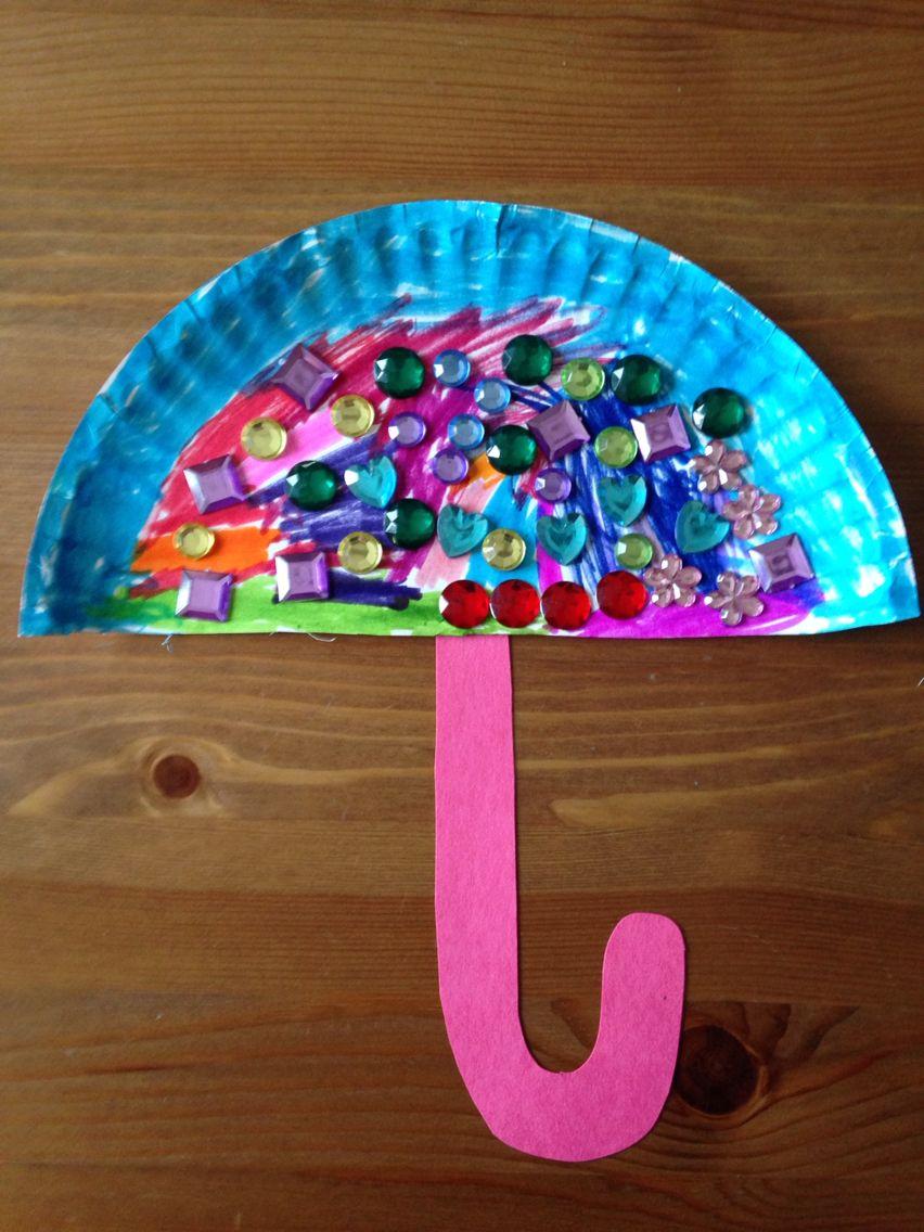 Paper plate umbrella craft preschool craft kids crafts for Art craft for preschool