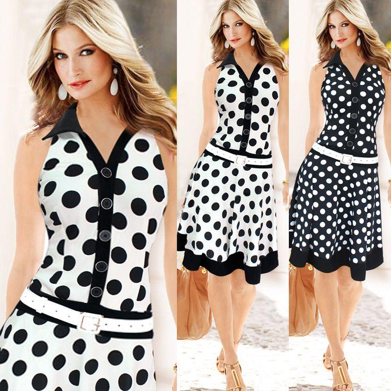 Click To Buy Dot Print Turn Down Collar Sleeveless Summer Dress