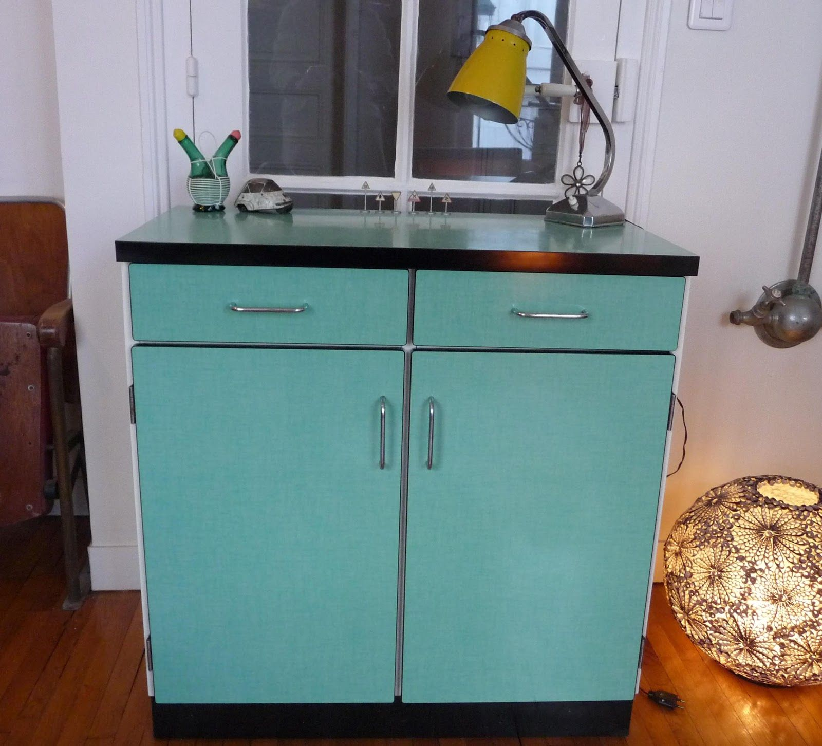 Petit buffet en formica turquoise my kitchen pinterest for Meuble en formica