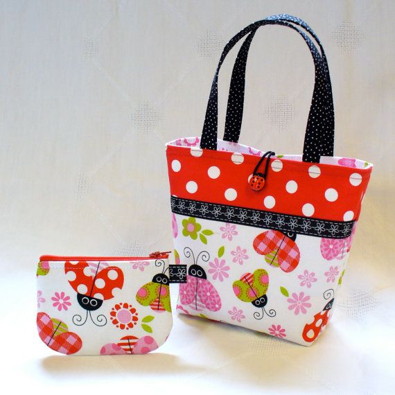 Lady Bug Purse trimmed in Black White Dot Handmade Handbag Gift Bag Diaper Bag
