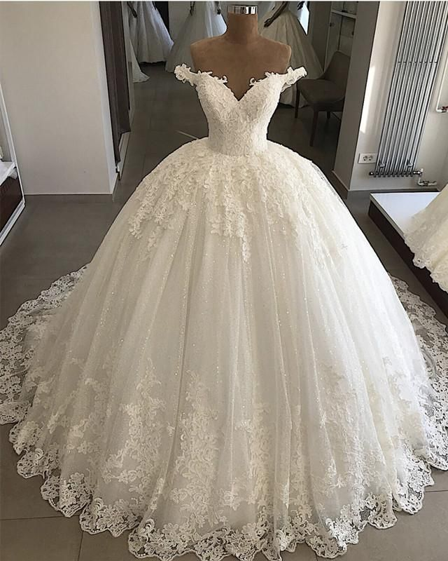 Photo of Pearl Beaded Lace V-neck Tulle Wedding Dresses Ball Gown Off Shoulder – #Ball #B…