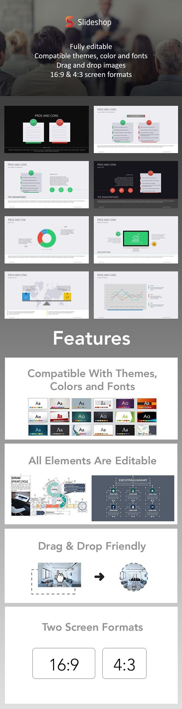 Pros And Cons Flat Presentation Format Presentation Templates And