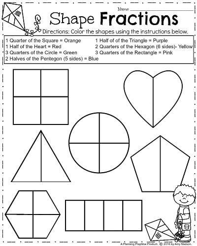 Basic fraction worksheets for first grade