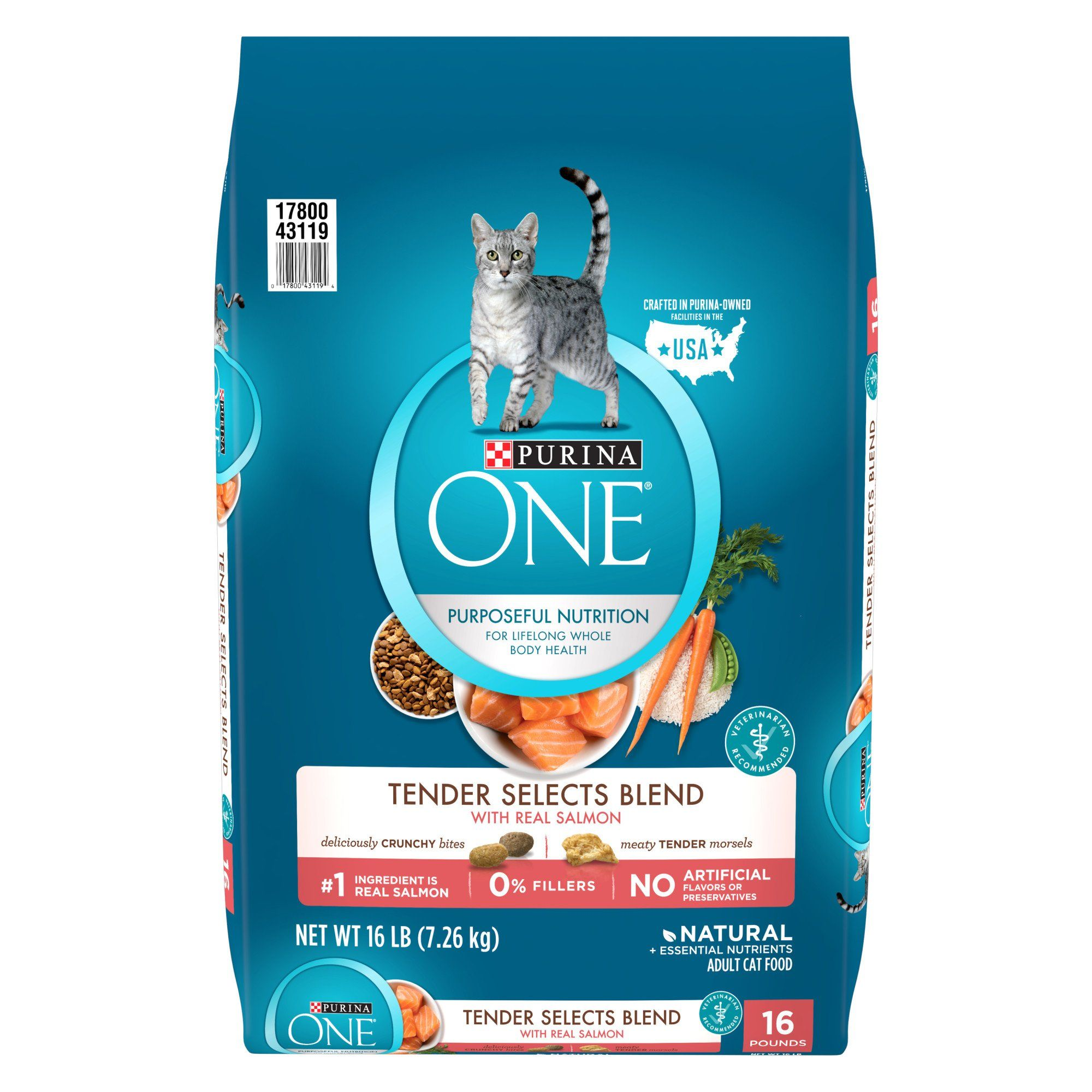 Purina One Natural Tender Selects Blend With Real Salmon Dry Cat