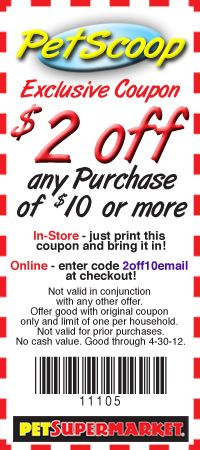 photo regarding Pet Supermarket Coupons Printable identified as Pet dog Grocery store $2 off $10 or further Exp 4/31/12 Coupon codes