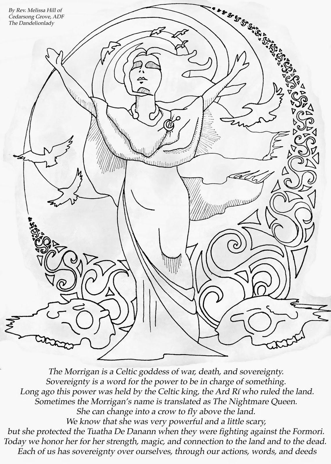 Samhain Coloring Page For The Morrigan