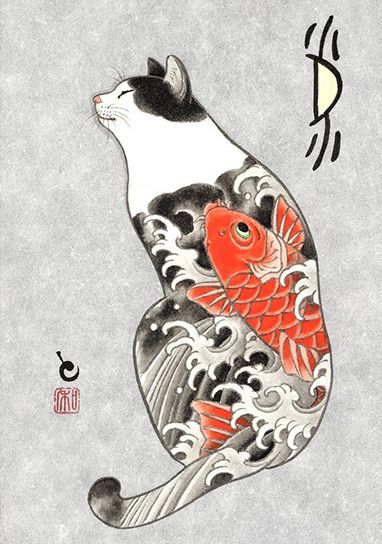 Monmon Cat Tattoo Cat Tattoo Cat Art Japanese Cat