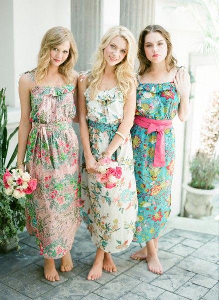 Myrtle Beach Lowcountry Wedding Print Bridesmaids Dresses