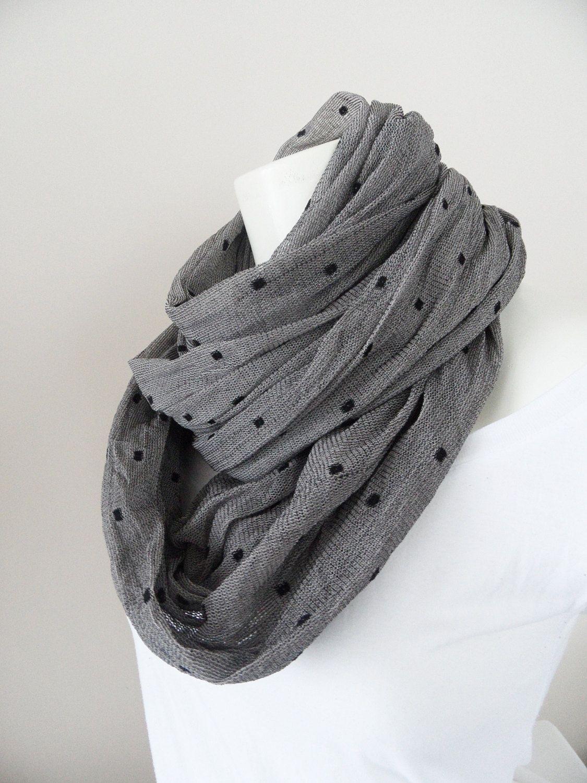 grey scarf, infinity scarf, polka dot cotton scarf, neckwarmer
