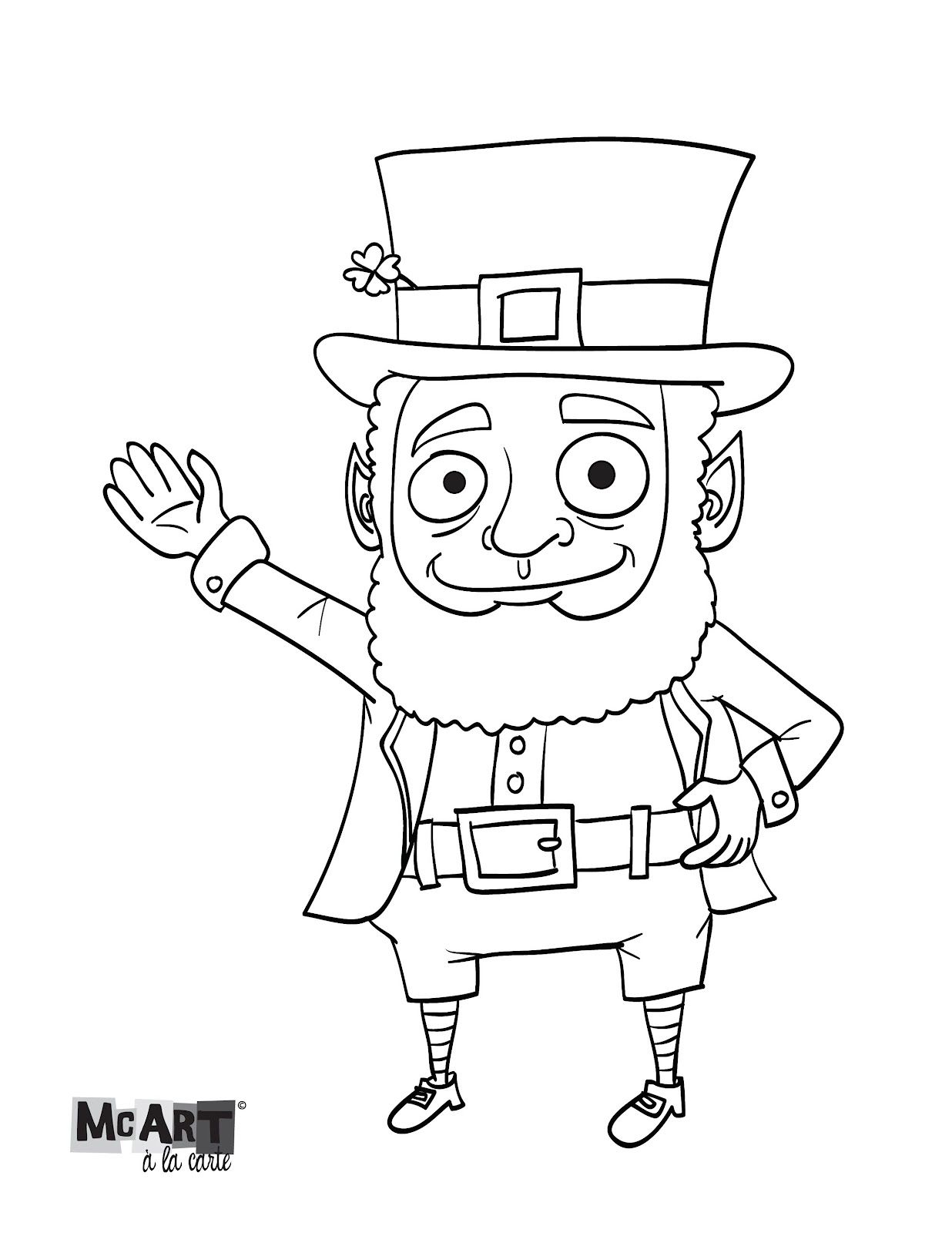 Coloring pictures leprechauns - Mcart La Carte Leprechaun Coloring Page