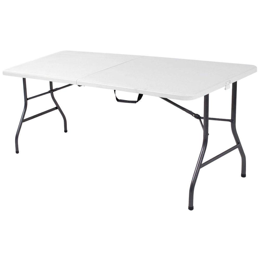 Cosco 72 In White Speckle Plastic Fold In Half Folding Banquet